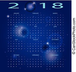 Abstract blue space 2018 calendar