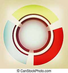 Abstract blue sphere and colorful semi-circles . 3D illustration. Vintage style.