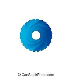 Abstract blue spiral vector logo illustration