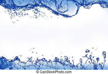 Abstract blue splashing water as picture frame