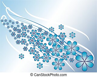 Abstract blue spring background with flowers
