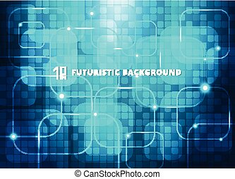 Abstract blue squares virtual technology concept futuristic digital background with space for your text.