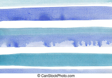 Abstract blue stripes watercolor background