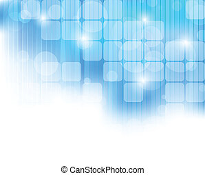 Abstract blue tech background with square and light