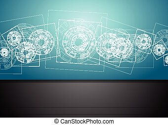 Abstract blue tech engineering background