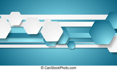 Abstract blue tech geometric video animation - Abstract blue...
