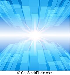 Abstract blue technology background with glow star. Vector illustration.