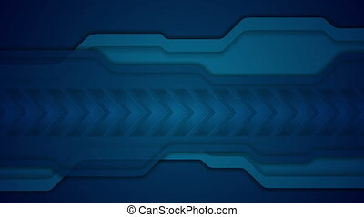 Abstract blue technology video animation with arrows