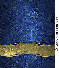 Abstract blue texture with scuffed and gold plate