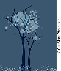 Abstract blue tree. Vector