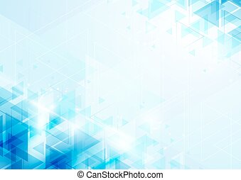Abstract blue triangles on soft  background