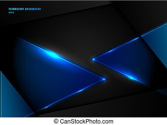 Abstract blue triangles with lighting laser on black background with space for your text.