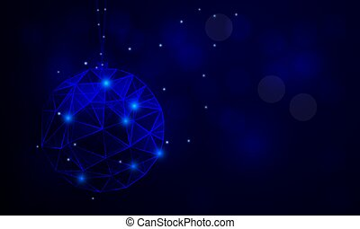 abstract blue triangular christmas ball on blue background