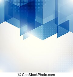 Abstract blue vector background with halftone and polygons