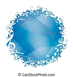 abstract blue vector background with white round music...