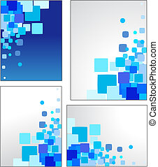 Abstract blue vector backgrounds - Collection of mosaic blue...