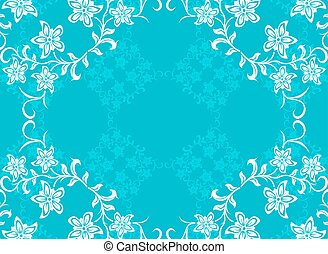 Abstract blue vector with flowers
