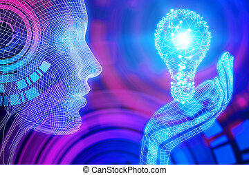 Abstract blue wallpaper - Side view of digital blue person...