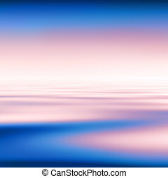 Abstract blue water and pink sky background