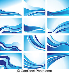 blue wave background set