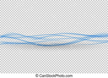 Abstract Blue Wave on transparent Background. Vector Illustration