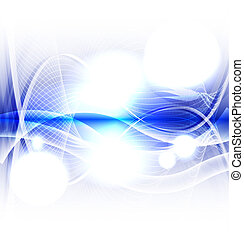 Abstract blue wave on white