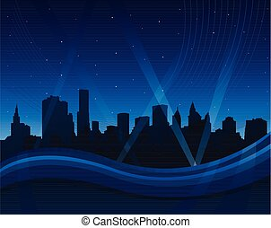 Abstract blue waving background with cityscape