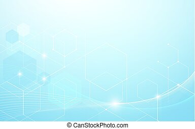 Abstract blue wavy lines and hexagons Futuristic technology concept background