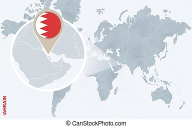 Map pins with asian cities map pins with abu dhabi sydney abstract blue world map with magnified bahrain gumiabroncs Image collections