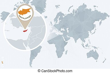 World map with magnified cyprus cyprus flag and map vector clipart abstract blue world map with magnified cyprus gumiabroncs Images