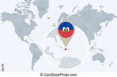 Dominican republic and haiti map highly detailed vector map abstract blue world map with magnified haiti gumiabroncs Image collections