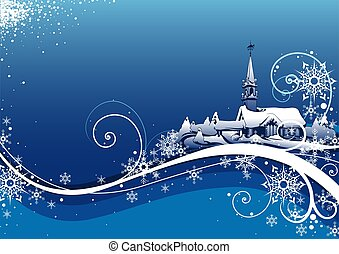 Abstract Blue Xmas Bckg - christmas background illustration