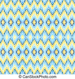 Abstract blue - yellow  seamless zigzag pattern
