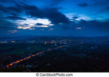 Abstract blur Aerial view of night small town