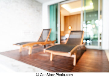 abstract blur and defocus bed chair in resort