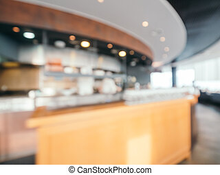 Abstract blur and defocused restaurant and coffee shop cafe interior