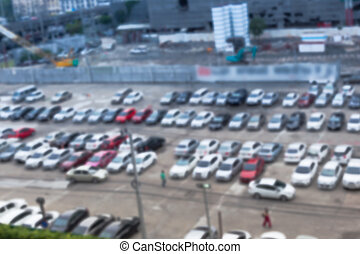 Abstract blur background of car parking, shallow depth of focus, top view