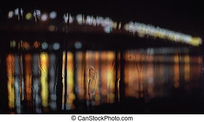 Abstract blur background of rainy city at night