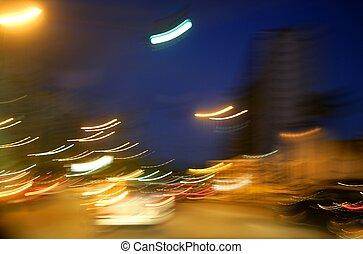 abstract blur city night lights, blue sky