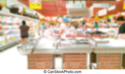 Abstract blur fish in supermarket