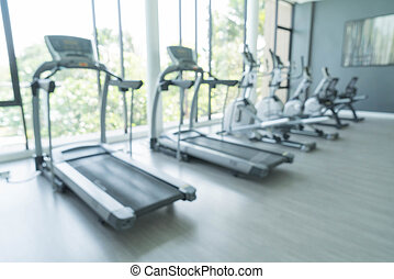 Abstract blur fitness gym and equipment background