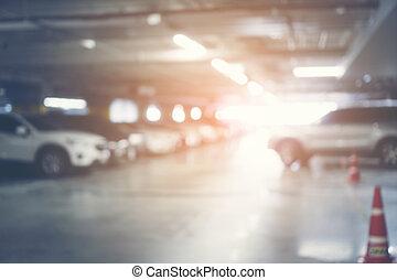 Abstract blur Hidden underground parking, blur parking garage underground interior