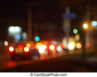 Abstract blur image of a night scene with bright lights