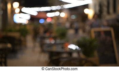 Abstract blur image of night festival on street background...