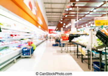 abstract blur in supermarket for background