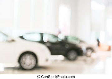Abstract blur of car in the showroom
