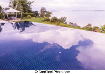 Abstract blur of swimming pool with infinity edge with clouds and sky shadow can be used as background