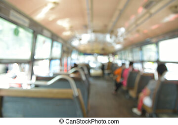Abstract blur or defocus Background of People on Public Transportation Bus