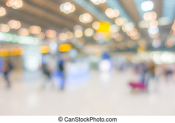 Abstract blur passenger in the airport .