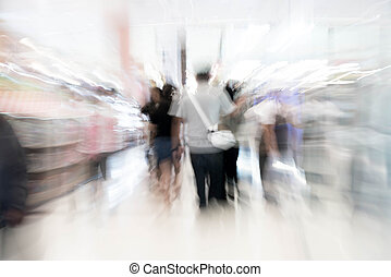 Abstract blur people in beautiful luxury shopping mall center and shop retail store